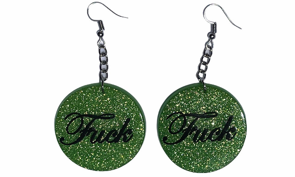 Green F#ck earrings