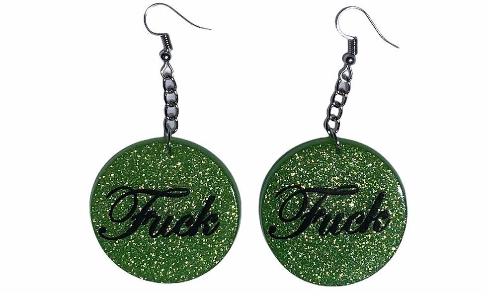 Green F#ck earrings