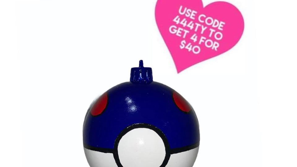 Pokemon Great Ball Christmas Bauble Hand Painted