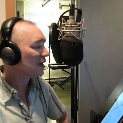 Aaron Abano recording an audiobook. Also records as Aaron Abano and Adam North.