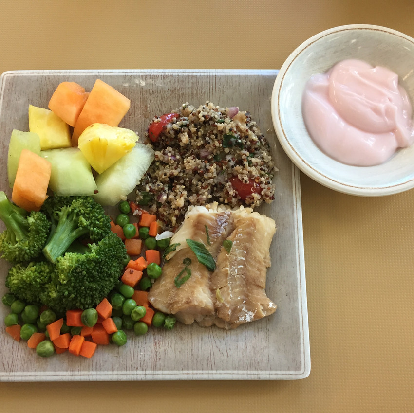 A balanced meal with fruit and fish
