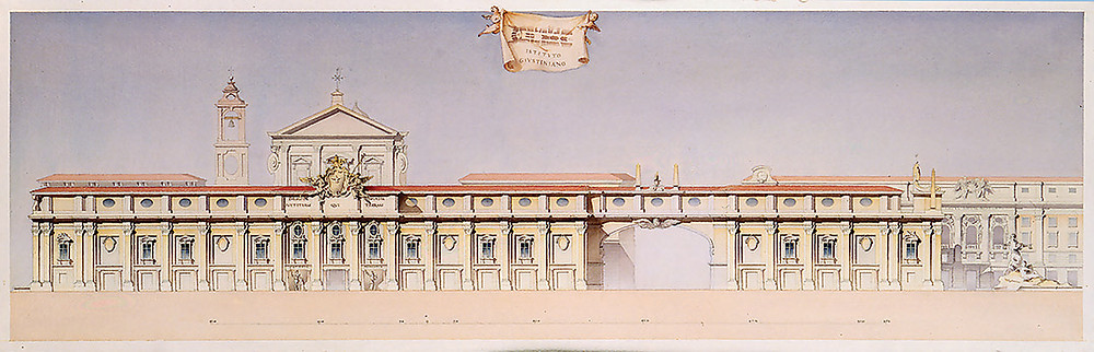 wash rendering of project from my fellowship year, 1988-89, at the American Academy in Rome