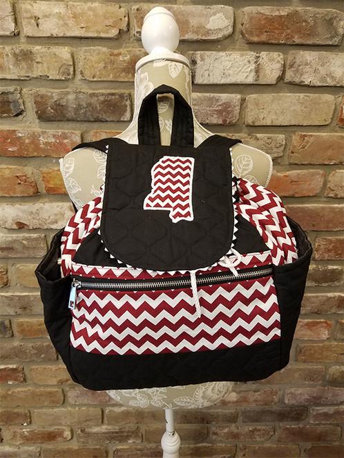 Mississippi Black/Maroon/White Chevron Backpack | STITCH A TO Z ...