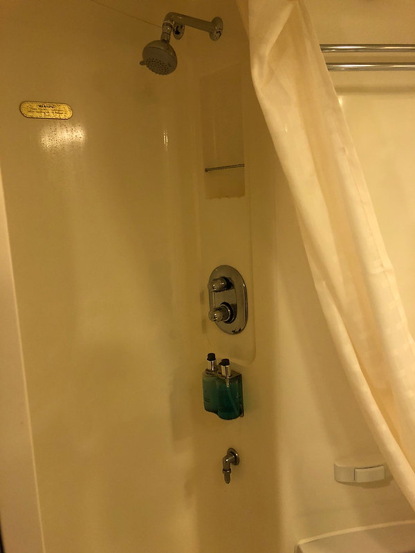 Shower in the restroom of a balcony stateroom on Princess Cruise's Crown Princess