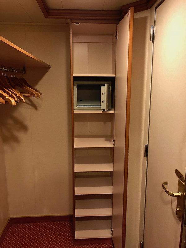 Additonal shelves in Crown Princess cruise ship state room closet