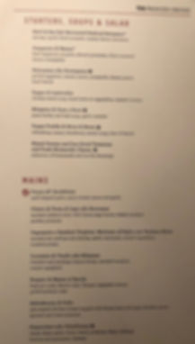 Dining Hall menu on the Crown Princess