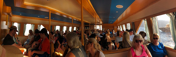 Inside a relatively large tender boat -- 180 passengers.