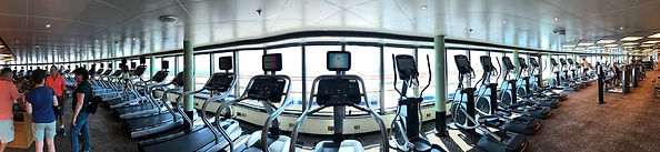 Exercise machines in the fitness gym on the Crown Princess cruise ship