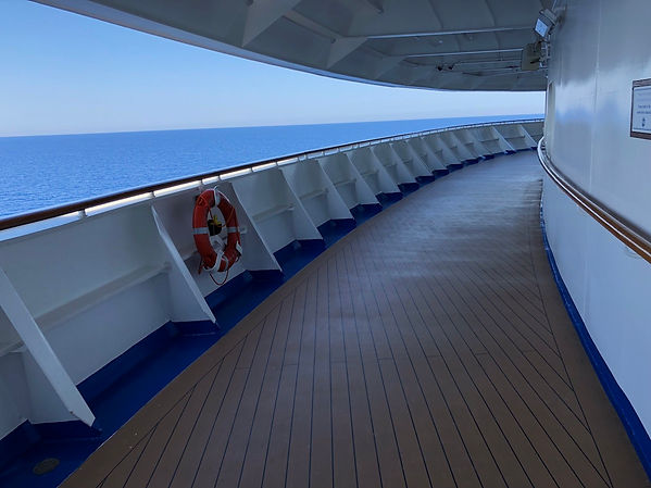 Crown Princess's Promenade Deck -- a Walking Track with a View
