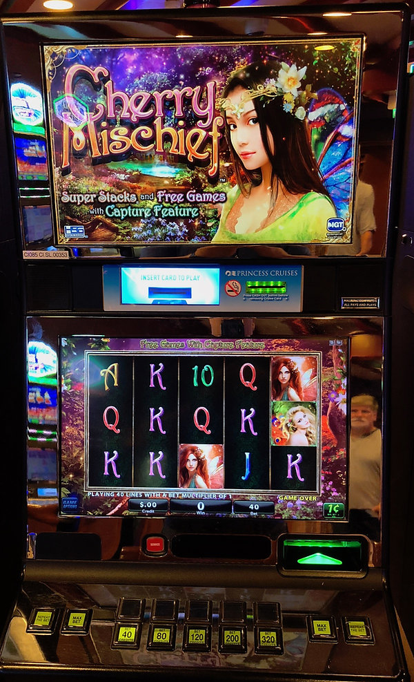 Cherry Mischief -- Offensive slot machine in the casino aboard the Crown Princess cruie ship