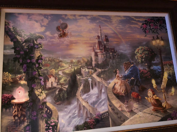 "Kinkade Galleries' ""Beauty and the Beast Falling in Love"" offered for over $7,000 at a cruise ship fine art auction scam"