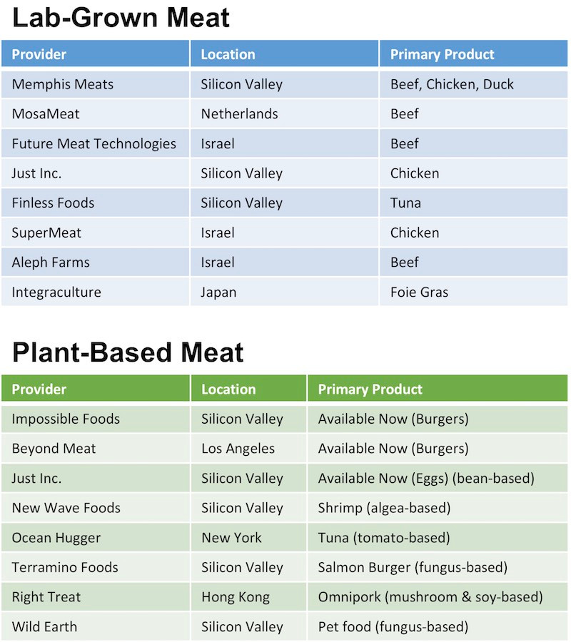 Alternative Meats Comparison Chart - Lab-Grown Clean Meats like Memphis Meat and MosaMeat versus Plant-based Meat, like Impossible Foods and Beyond Meat