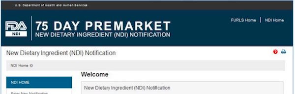 New Dietary Ingredient Notification (NDIN)