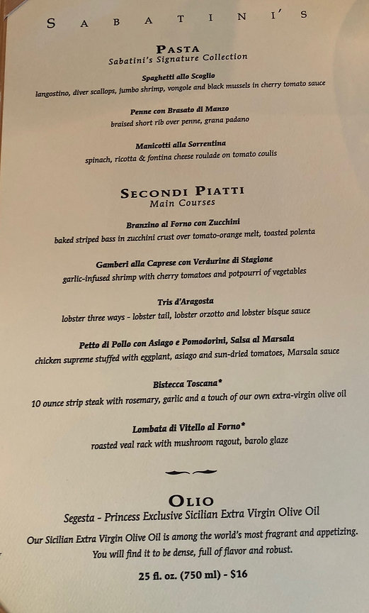Menu at Sabatini's restaurant on the Crown Princess