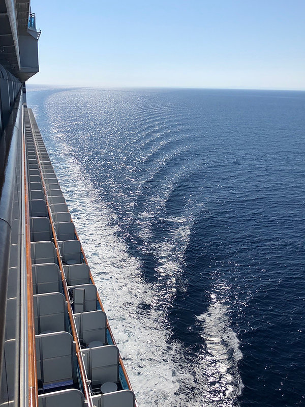 Balcony view from the Crown Princess in the Mediterranean