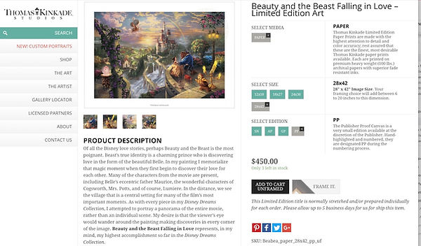 "Kinkade website shows actual retaili price of Price card for Kinkade Galleries' ""Beauty and the Beast Falling in Love"" offered for over $7,000 at a cruise ship fine art auction scam"
