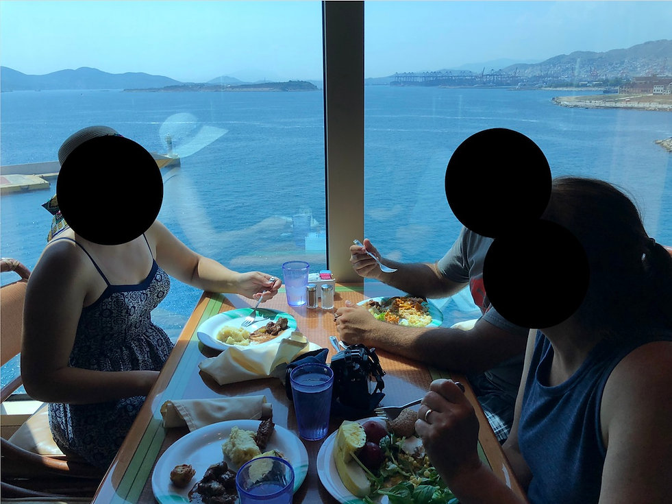 Stunning window views at the Horizon Court Buffet. The Crown Princess is at Piraeus Port in Athens, Greece