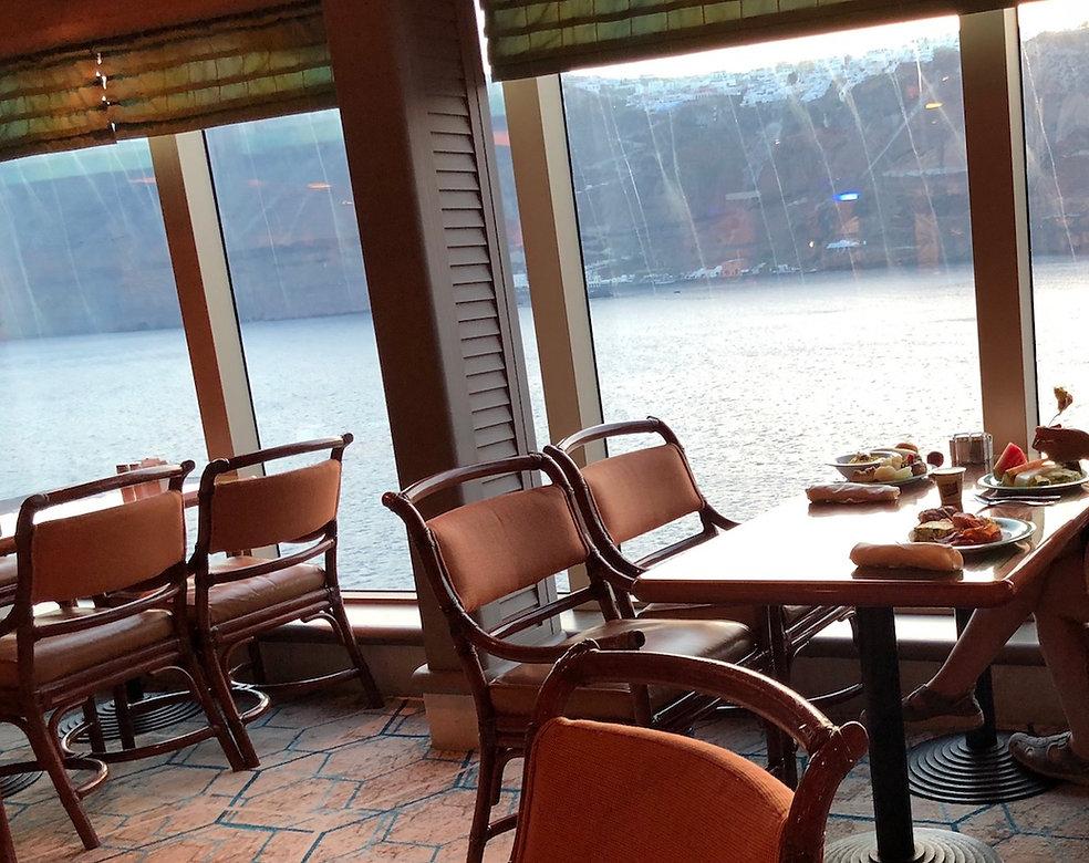 Stunning window views at the Horizon Court Buffet on Princess Cruise's Crown Princess