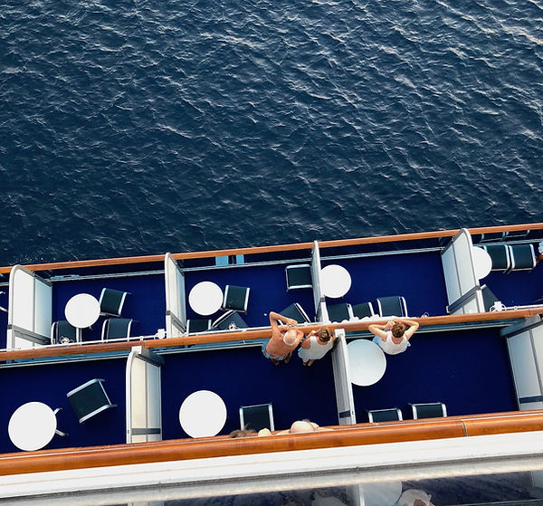 Crown Princess cruise ship -- view down to balconies below