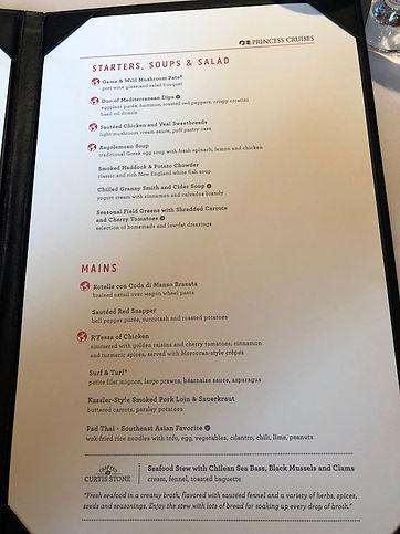 Dining Hall menu on the Crown Princess