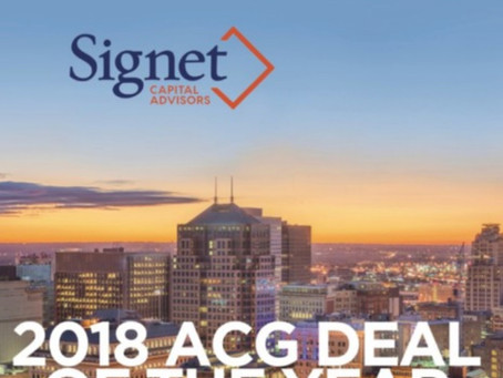 Signet Capital Advisors' Deal Earns ACG Cleveland's 2019 Deal of the Year Award