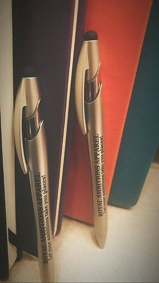 Royal Ambitions Journal w/ customized stylus tip Pen