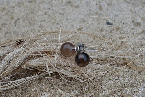 Boucles d'oreilles en Quartz Fumé et argent 925 rhodié