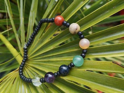 Bracelet élastique 7 chakras version noire