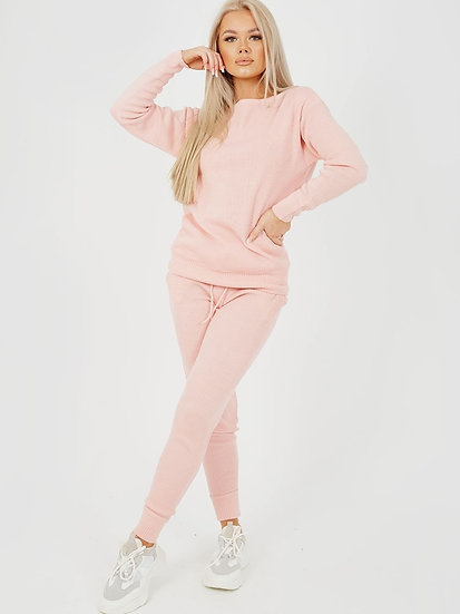 Scoop Neck Knitted Lounge Co-ord-Pink
