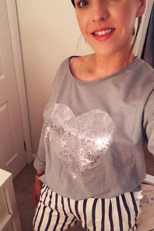 Grey heart shimmer top