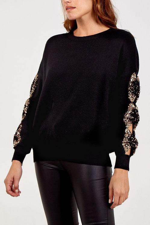 Gold Sequin Sleeve Jumper