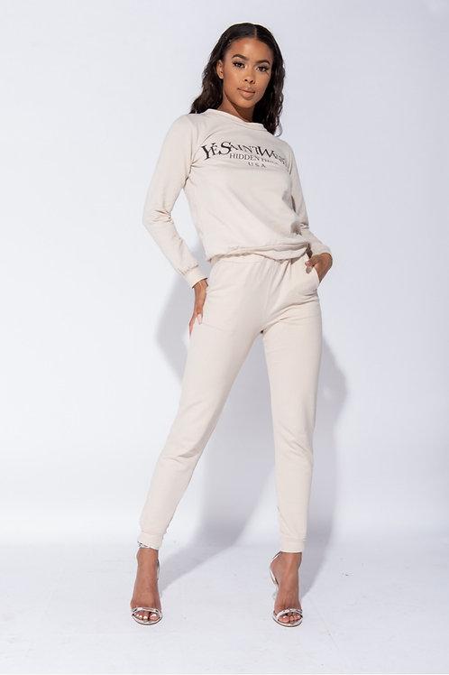 Beige Ye Saint West Jumper & Jogger Loungewear Set