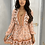 Thumbnail: Peach Border Print Balloon Sleeve Dress