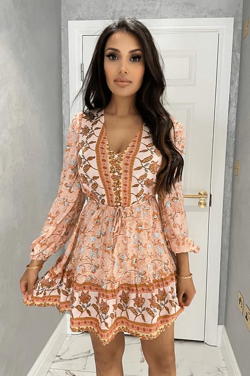 Peach Border Print Balloon Sleeve Dress