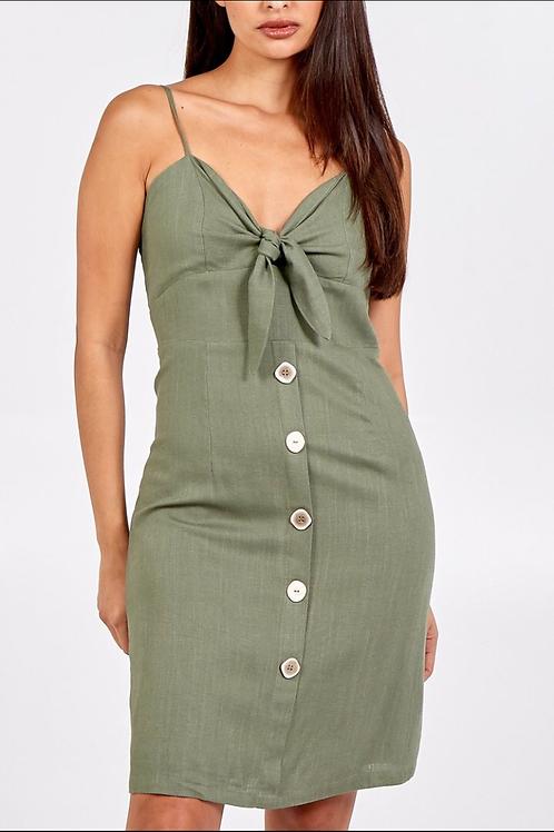 Tie Front Multi Button Linen Dress