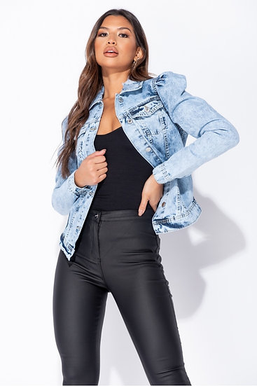 Mid Blue Acid Puff Sleeve Western Denim Jacket