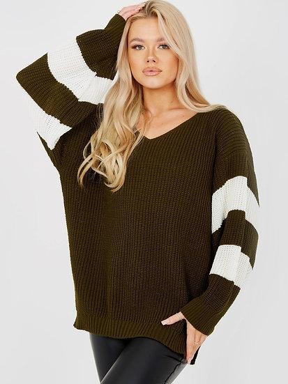 Contrast Stripe Sleeve Knitted Jumper