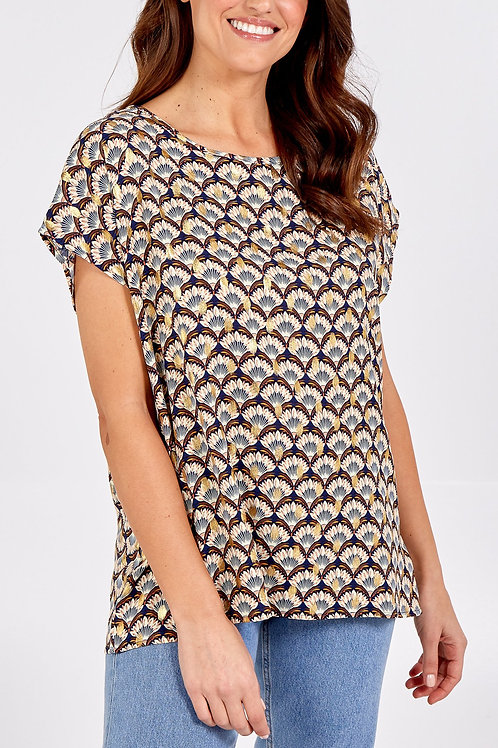 Printed Gold Foil Detail Tunic Top - Navy