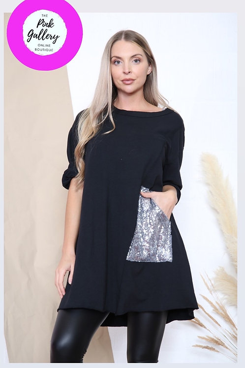 Black sequinned tunic