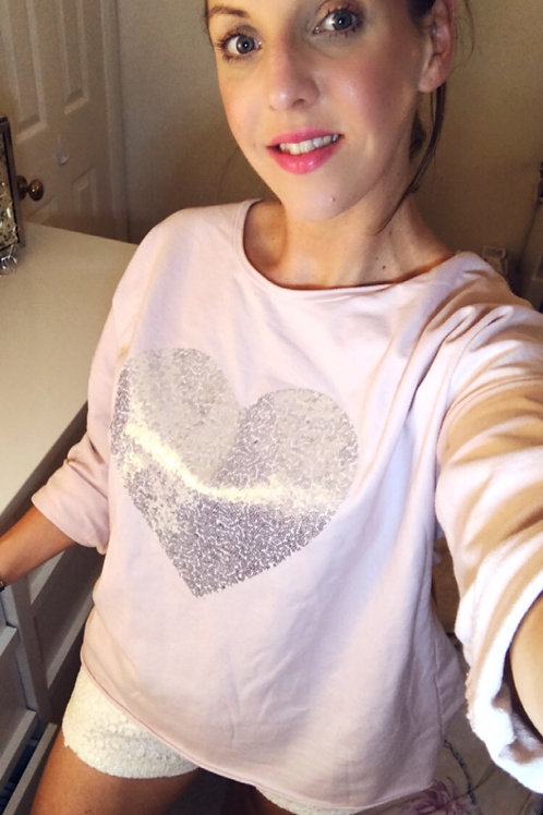 Dusky pink heart shimmer top