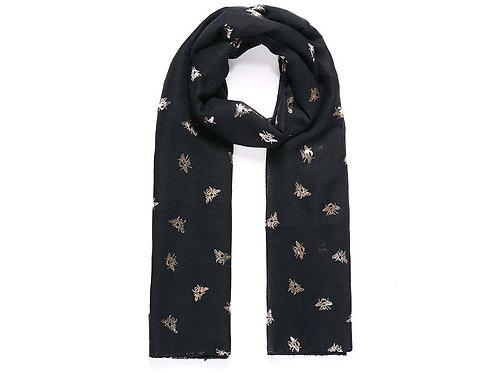 Black baby bee rose gold metallic scarf