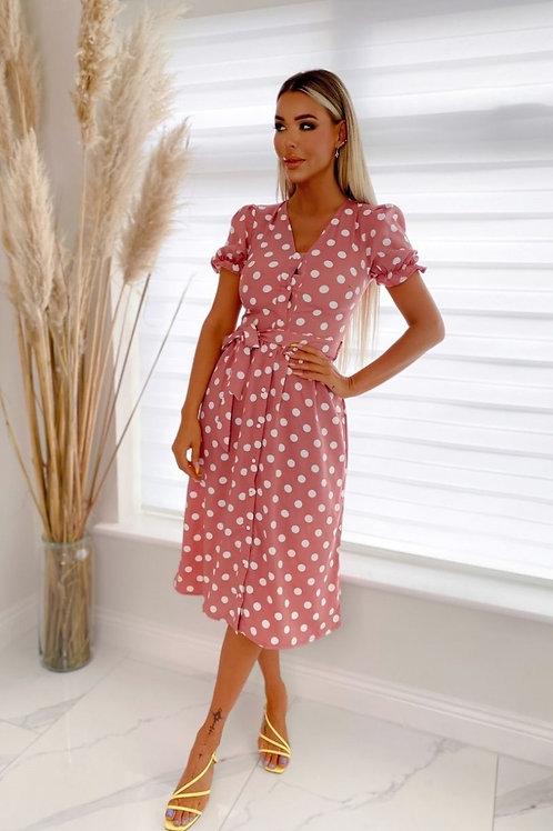 Pink White Puff Sleeve Polka Dot Belted Midi Dress