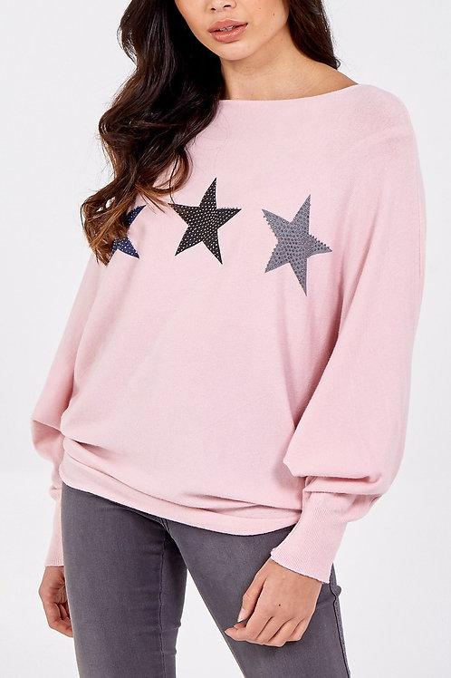 Fine Knit Glitter Star Slash Neck Jumper