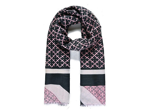 Pink Floral Check Print Scarf