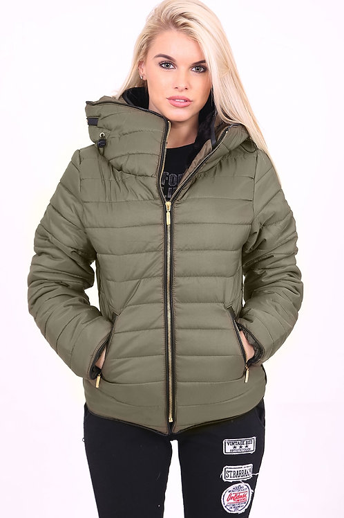 Quilted Padded Puffer Bubble Jacket - Olive