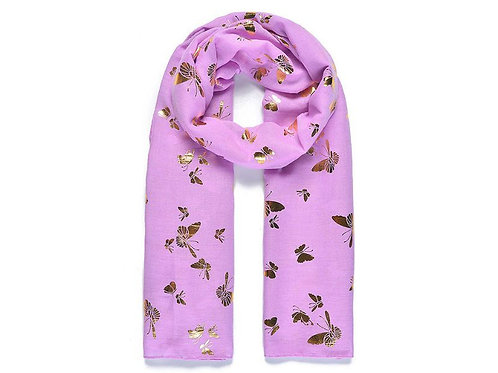 Gold Printed Butterfly Scarf