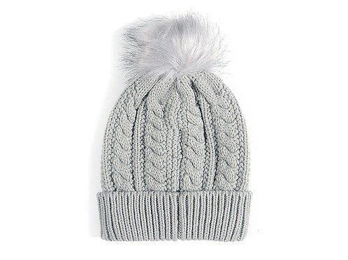 Grey knitted scarf and bobble hat set