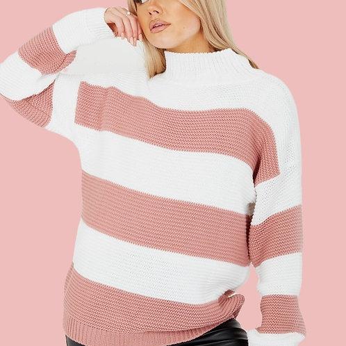 Striped Funnel Neck Jumper - Pink
