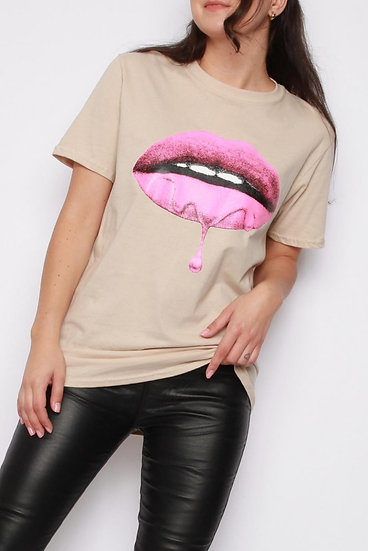 Lips T-shirt - Beige