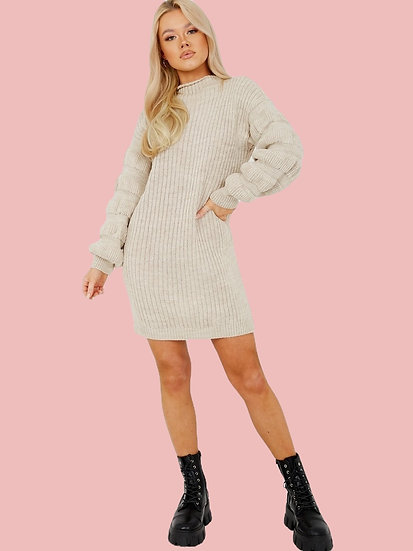 Bubble Sleeve Knitted Dress